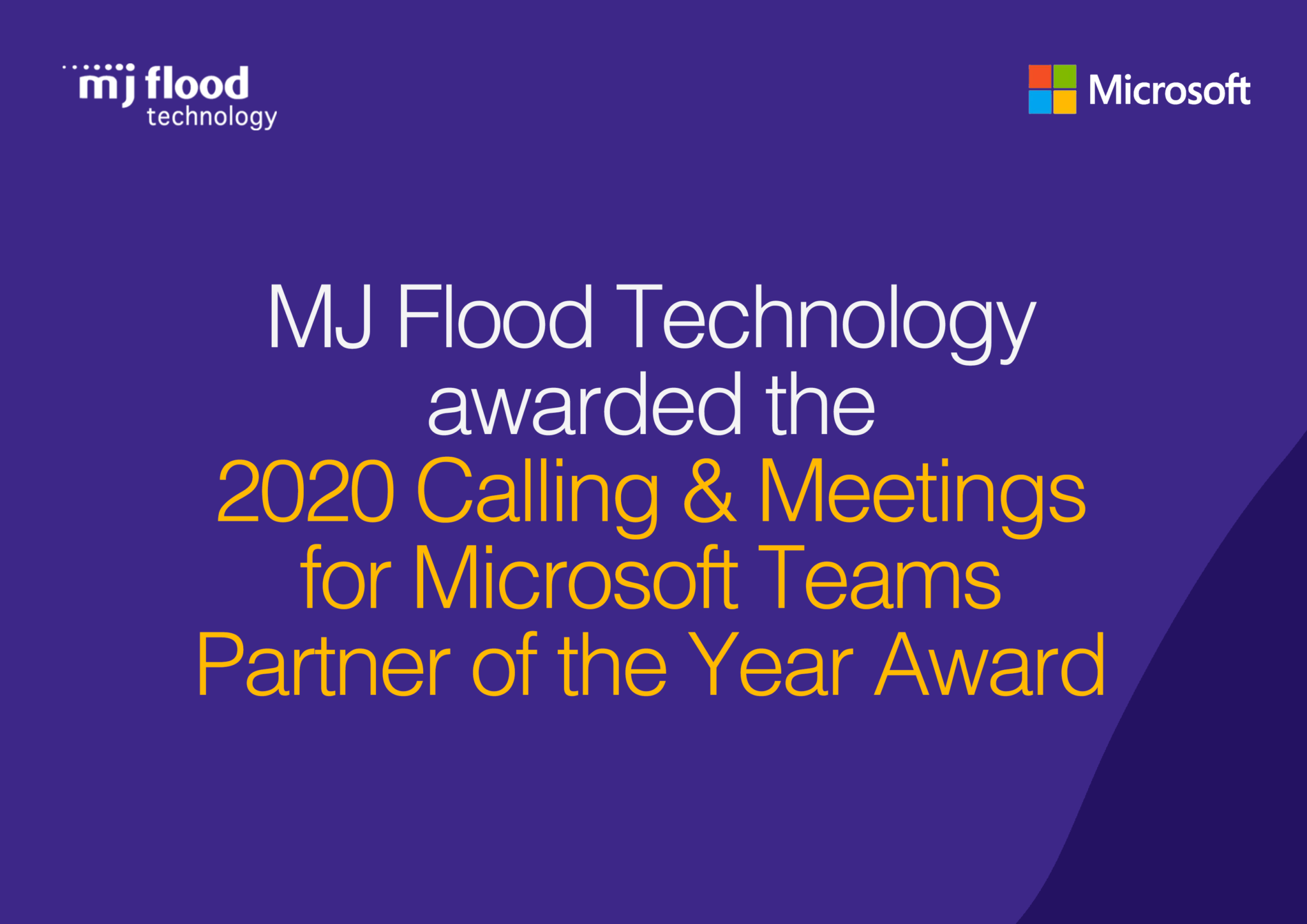 MJ Flood Technology wins 2020 Calling & Meetings for Microsoft Teams Partner of the Year Award